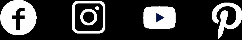 Social Media Rockets Facebook Instagram Youtube und Pinterest Logos in weiß